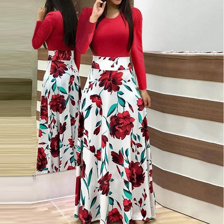6fb516c3745 UKAP - Asian size Womens Long Sleeve Floral Printed Splicing Color ...