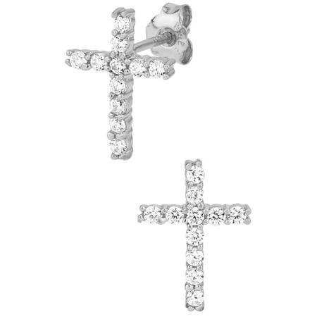925 Sterling Silver Cross Earrings (.925 Sterling Silver Channel Set Cubic Zirconia Studded Cross Earrings)