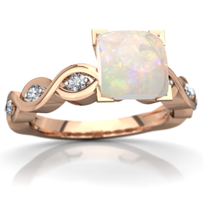Opal Infinity Engagement Ring in 14K Rose Gold