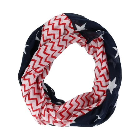 Size one size Women's Stars and Stripes American Flag Print Infinity Loop Scarf, Navy ()