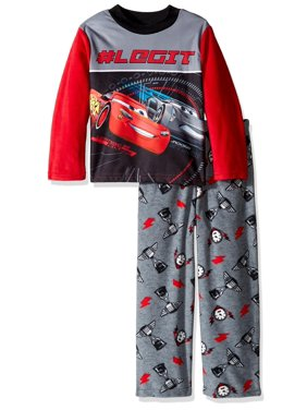 Disney Boys' Cars 2-Piece Fleece Pajama Set, Gray, Size: 4