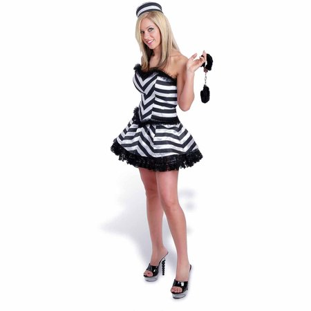 Halloween Convict Costumes (Lava Diva Convict Corset Women's Plus Size Adult Halloween)