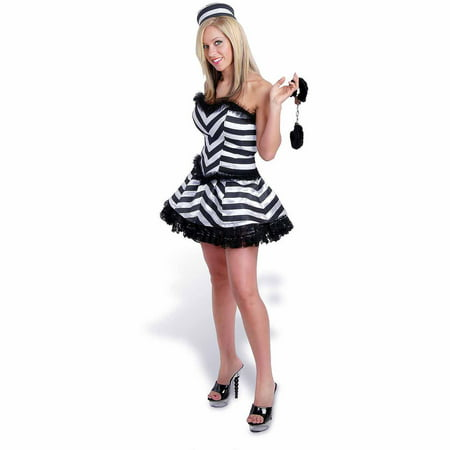 Lava Diva Convict Corset Women's Plus Size Adult Halloween Costume - Convict Halloween Costume