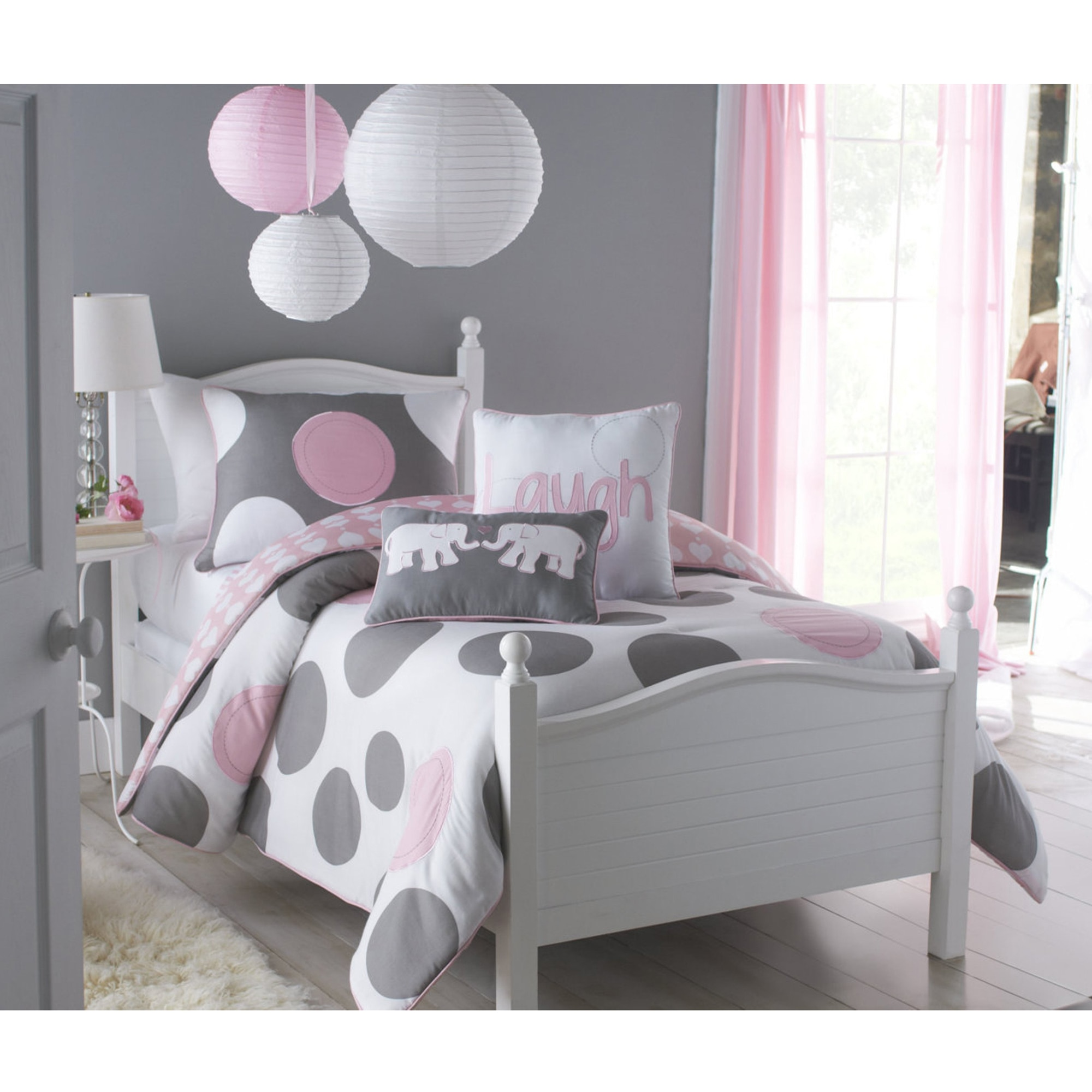 comforter bedding set pink and gray polka dot 3 piece kids bedding set twin size ebay. Black Bedroom Furniture Sets. Home Design Ideas