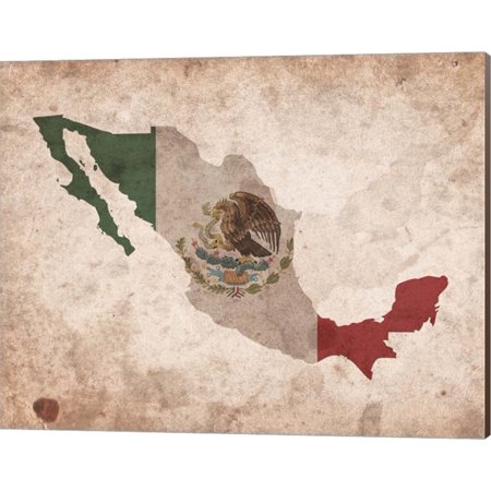 Great Art Now Map with Flag Overlay Mexico by Color Me Happy Canvas Wall Art 20W x (Canvas Overlay)