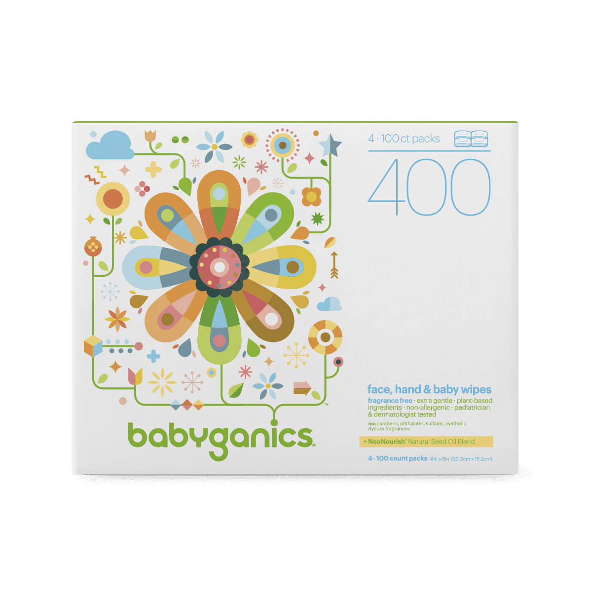 Babyganics Face, Hand & Baby Wipes, Fragrance Free (400 count)