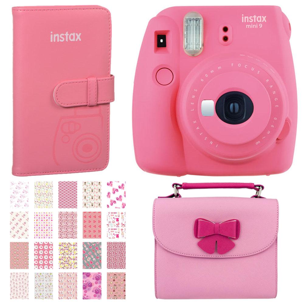 Dream Gift! Fujifilm Instax Mini 9 Instant Film Camera Flamingo Pink + Trendy Pink Bag – Camera/Accessories + Fuji Instax Prints Pocket Album + Birthday Themed Photo Frame - Fun Kit!