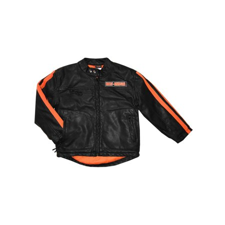 Harley-Davidson Little Boys' Striped Faux Leather Biker Jacket, Black (5), Harley Davidson Coastal Harley Davidson Leather