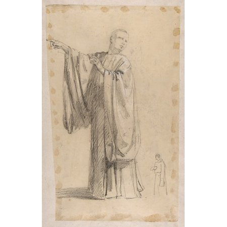 Cleric  Lower Register Study For Wall Paintings In The Chapel Of Saint Remi Sainte Clotilde Paris 1858  Black Chalk Landscape Sketch On Verso Of Support Poster Print By Isidore Pils  French Paris 1813