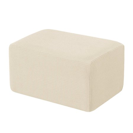 Subrtex Stretch Storage Ottoman Slipcover Protector Spandex Elastic Rectangle Footstool Sofa Slip Cover for Foot Rest Stool Furniture in Living Room (Oversize, Ivory) ()