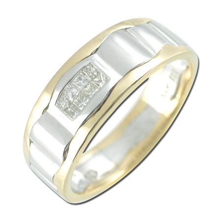 14K Two Tone Gold 0.2ct Central Invisible Set Princess Shaped Diamond Men's Ring
