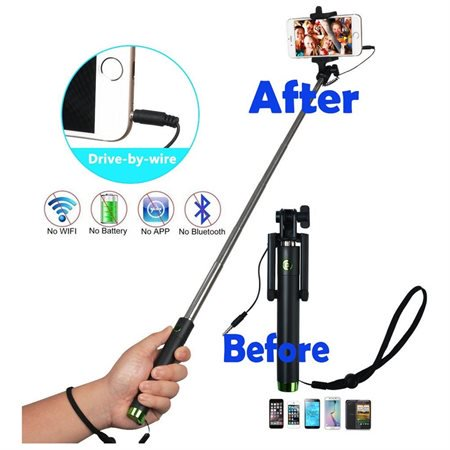 one piece u shape self portrait monopod extendable selfie stick with wired co. Black Bedroom Furniture Sets. Home Design Ideas