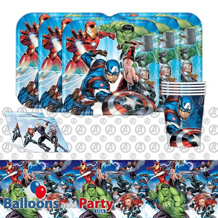 Disney Marvel Epic Avengers Superhero Childrens Birthday Party Tableware Pack Kit For 16, Includes: 16 paper 9oz cups By Balloons and Party