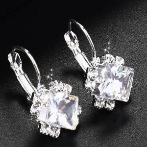 Fancyleo Popular Diamond-studded Rhinestone Zircon Crystal Square Earrings Accessories
