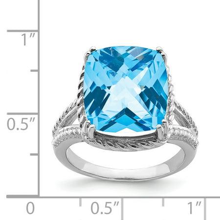 925 Sterling Silver Rhodium Checker-Cut Light Swiss Blue Topaz Ring - image 1 of 2
