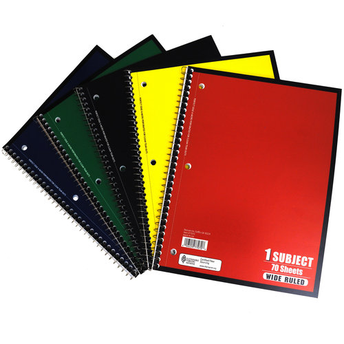 Notebook, College Ruled, 70 Sheet, Colors May Vary