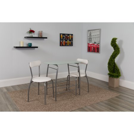 Flash Furniture Sutton 3-Piece Space-Saver Bistro Set with White Glass Top Table and White Vinyl Padded Chairs