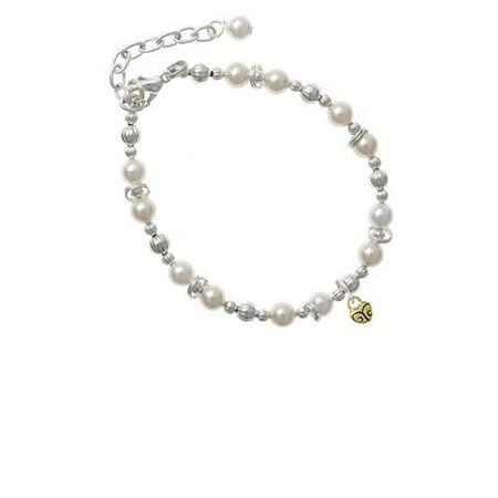 Goldtone Mini Scroll Heart Imitation Pearl Beaded