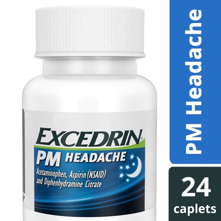Excedrin PM Caffeine-Free Caplets for Headache Pain Relief and Nighttime Sleep-Aid, 24 (Best Medicine For Acidity)