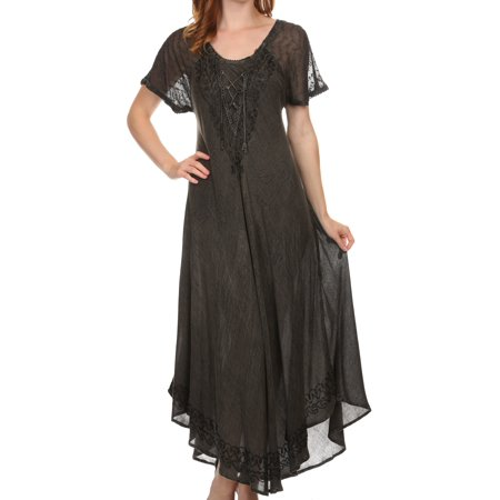 Long Sleeve Caftan - Sakkas Egan Long Embroidered Caftan Dress / Cover Up With Embroidered Cap Sleeves - black - One Size Regular