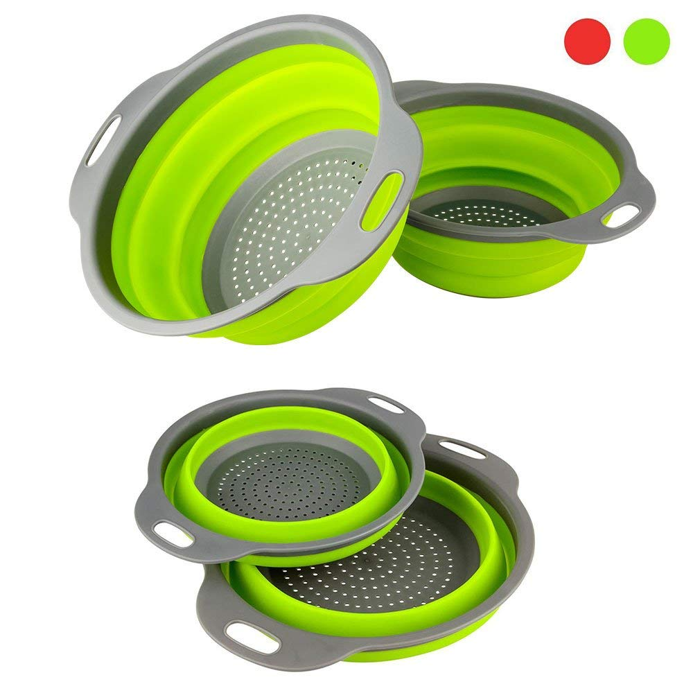 "2Pcs Collapsible Colanders Strainers Set Includes 2 Space-Saver Folding Strainers Sizes 8"" 2 Quart and... by"