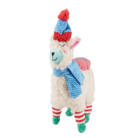 Fleece Squeaky Toy - Winter Squeaky Plush Dog Toy, Llama with Blue Chevron