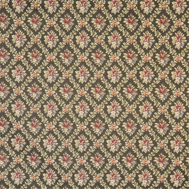 Designer Fabrics F921 54 in. Wide Green, Red And Dark Blue, Floral Diamond Tapestry Upholstery Fabric