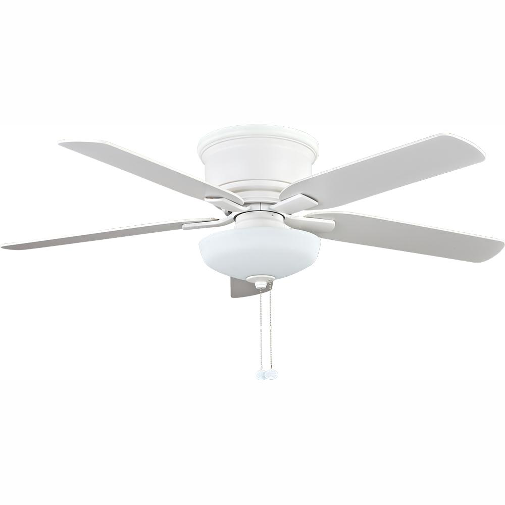 Holly Springs Low Profile 52 In Led Indoor Matte White Ceiling Fan With Light Kit Walmart Com Walmart Com