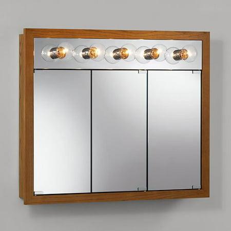Vanity Lights Over Surface Medicine Cabinet : Jensen Medicine Cabinet Granville Tri-View 5-Light 36Wx30H in. Surface Mount Medicine Cabinet ...
