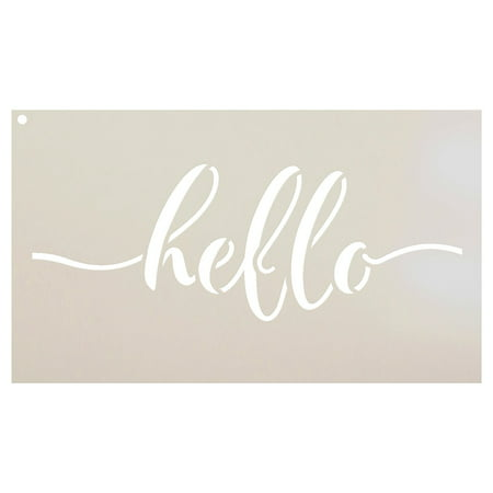 Rustic Hello Stencil by StudioR12 | Hand Drawn Script - Reusable Mylar Template | Painting, Chalk, Mixed Media | Use for DIY Home Decor - STCL1517 - SELECT SIZE (12