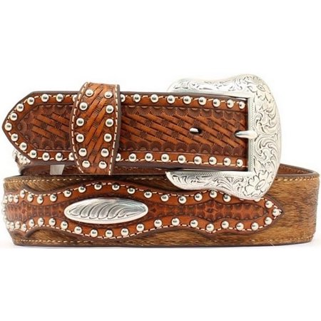 Nocona Western Belt Mens Leather Hair Studded Rich Earth N2500408 ()
