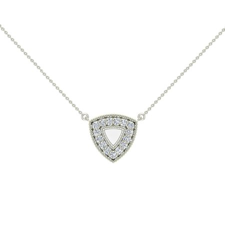 Diamond Triangle Necklace - 0.29 ct Diamond Triangle or Trillion Necklace 14K White Gold Without Chain (I,I1) Popular Quality