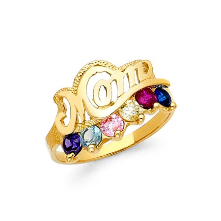 Mom Ring CZ Solid 14k Yellow Gold Mothers Day Band Six Stone Multi Color CZ Diamond Cut Fancy - Mothers Day Colors