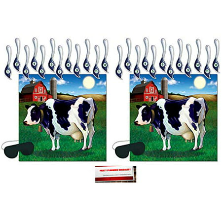 My Little Pony Pin The Tail Game (2 Pack Pin The Tail On The Cow Game 17¼ x 19 Inches - 2 Masks & 24 Tails included (Plus Party Planning Checklist by Mikes Super)