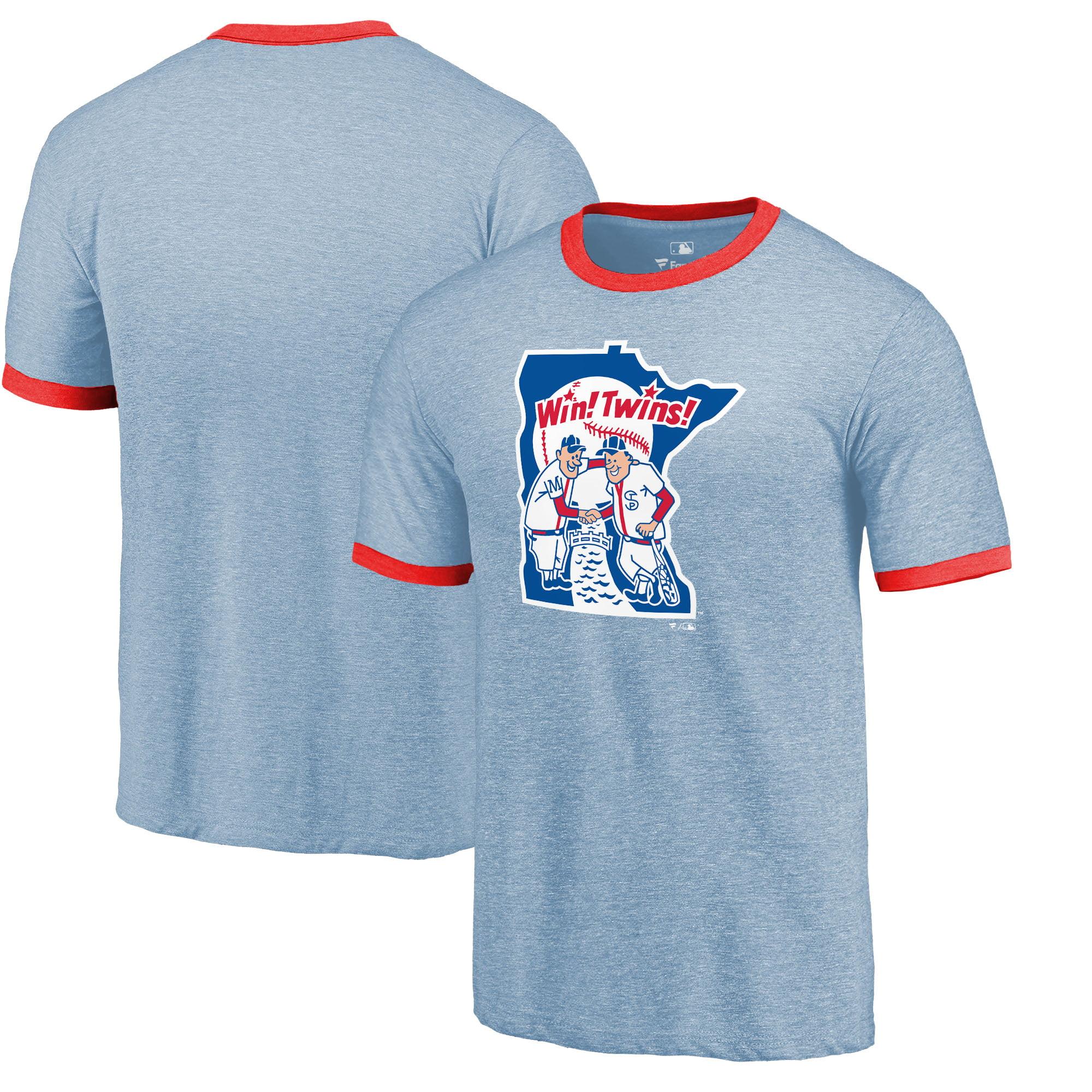 Minnesota Twins Fanatics Branded Refresh Ringer Tri-Blend T-Shirt - Light Blue/Red