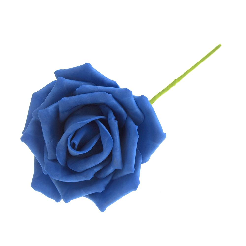 Rose Foam Flower with Stem, Royal Blue, 6-Inch