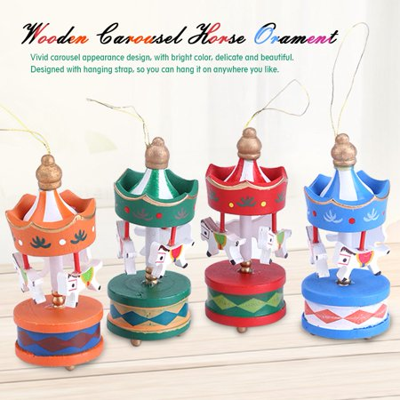 Walfront Wooden Carousel Horse Orament Merry Go Round Christmas Room Decoration Kids Gift Wooden Horse Decoration Christmas Wooden Decoration