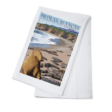 Piedras Blancas Elephant Seal Rookery - California - Lantern Press Poster (100% Cotton Kitchen Towel)