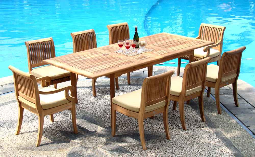 """Teak Dining Room Set:8 Seater 9 Pc 94"""" Double Extension Rectangle Table & 8 Giva Chairs (6 Armless & 2... by WholesaleTeak"""