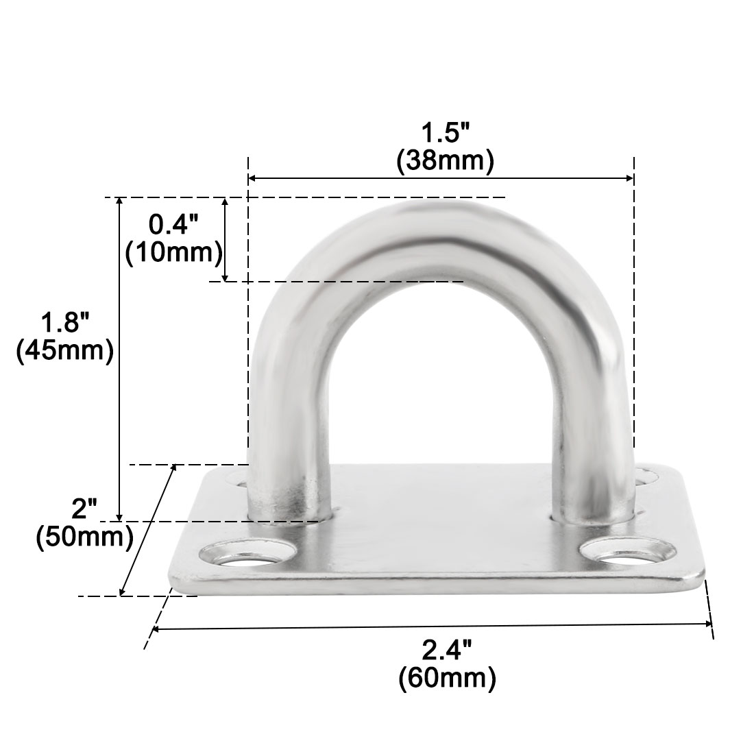 304 Stainless Steel Enclosed Ceiling Hook Hanger Silver Tone 60mm x 50mm x 40mm - image 4 of 7