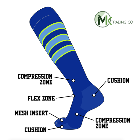 TCK Elite Baseball Football Long Striped Socks (D) Royal, NEON Green, Baby Blue - Long Neon Socks