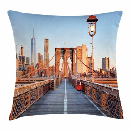 City Throw Pillow Cushion Cover, New York Skyline Closeup Brooklyn Bridge in Manhattan over Hudson River, Decorative Square Accent Pillow Case, 16 X 16 Inches, Orange Pale Blue Grey, by Ambesonne ()