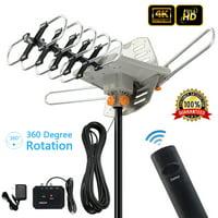 Zimtown 150Miles Outdoor  TV Antenna Motorized Amplified HDTV High Gain 36dB UHF VHF