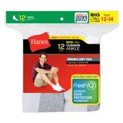 Hanes Men's Big & Tall FreshIQ Comfort Toe Ankle Socks 12-Pack