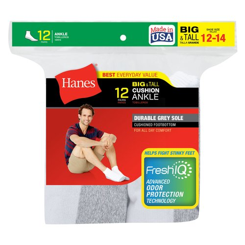 Hanes Men's Big & Tall FreshIQ Comfort Toe Ankle Socks 12-Pack