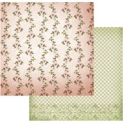 "Vintage Rose Garden Double-sided Paper 12""x12""-line Of Flowers - Case Pack Of 5"