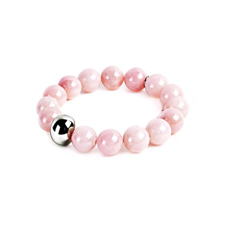 Light Pink Dyed Jade and Stainless Steel Bead Stretch Bracelet