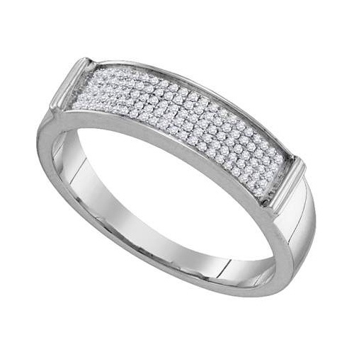 10K White Gold 0.23ctw Glamorous Fashion Diamond Mens Mic...