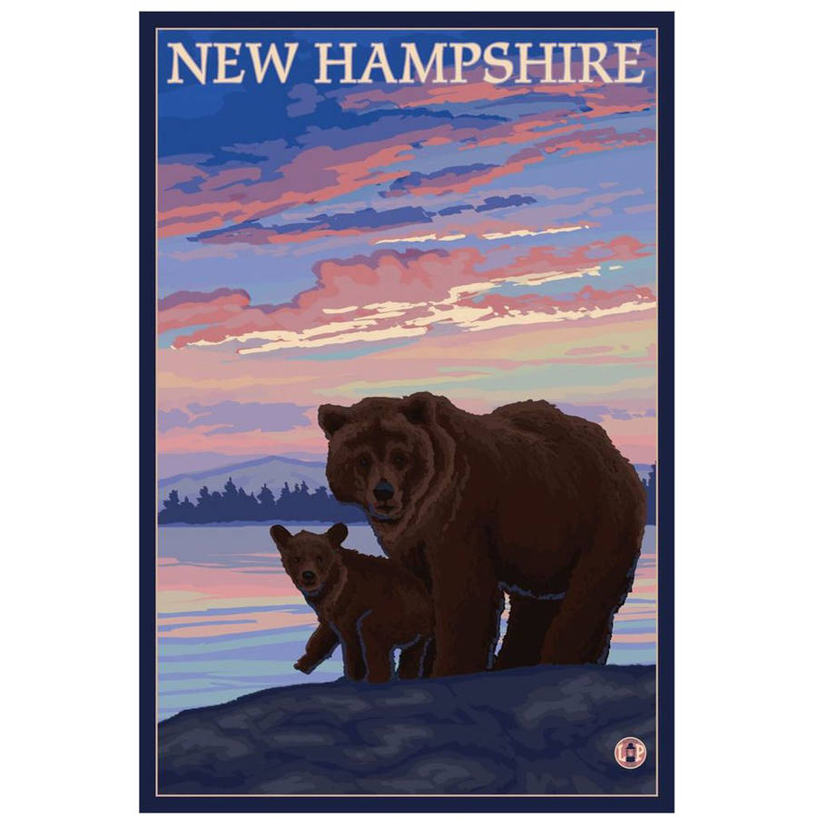 New Hampshire - Bear And Cub: Retro Travel Poster by Eazl Cling