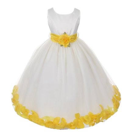 Little Girls Ivory Yellow Petals Organza Sash Flower Girl Dress